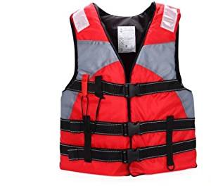 Bump-upscale adult swimming life jackets drift snorkeling buoyancy vest fishing clothing and whistles , red