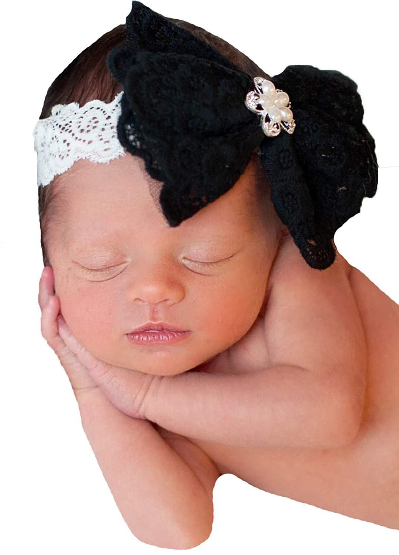 d56cb5034dcb5 Melondipity Black and Ivory Lace Bow Headband with Rhinestone Gem Baby Girls