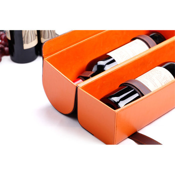 Luxury handmade customized cool design high quality orange texture leather wine box