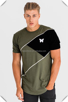 stylish long tall t-shirts custom printed men wholesale hip hop streetwear with extra length curved hem OEM embroidery