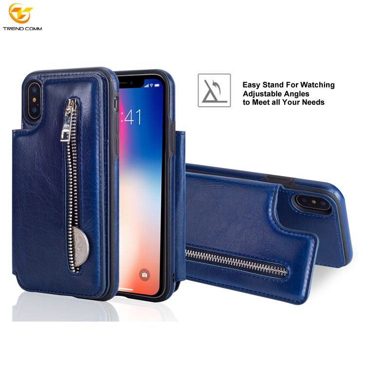 Zipper Wallet Mobile Phone Shell Leather For iPhone XS <strong>Case</strong>