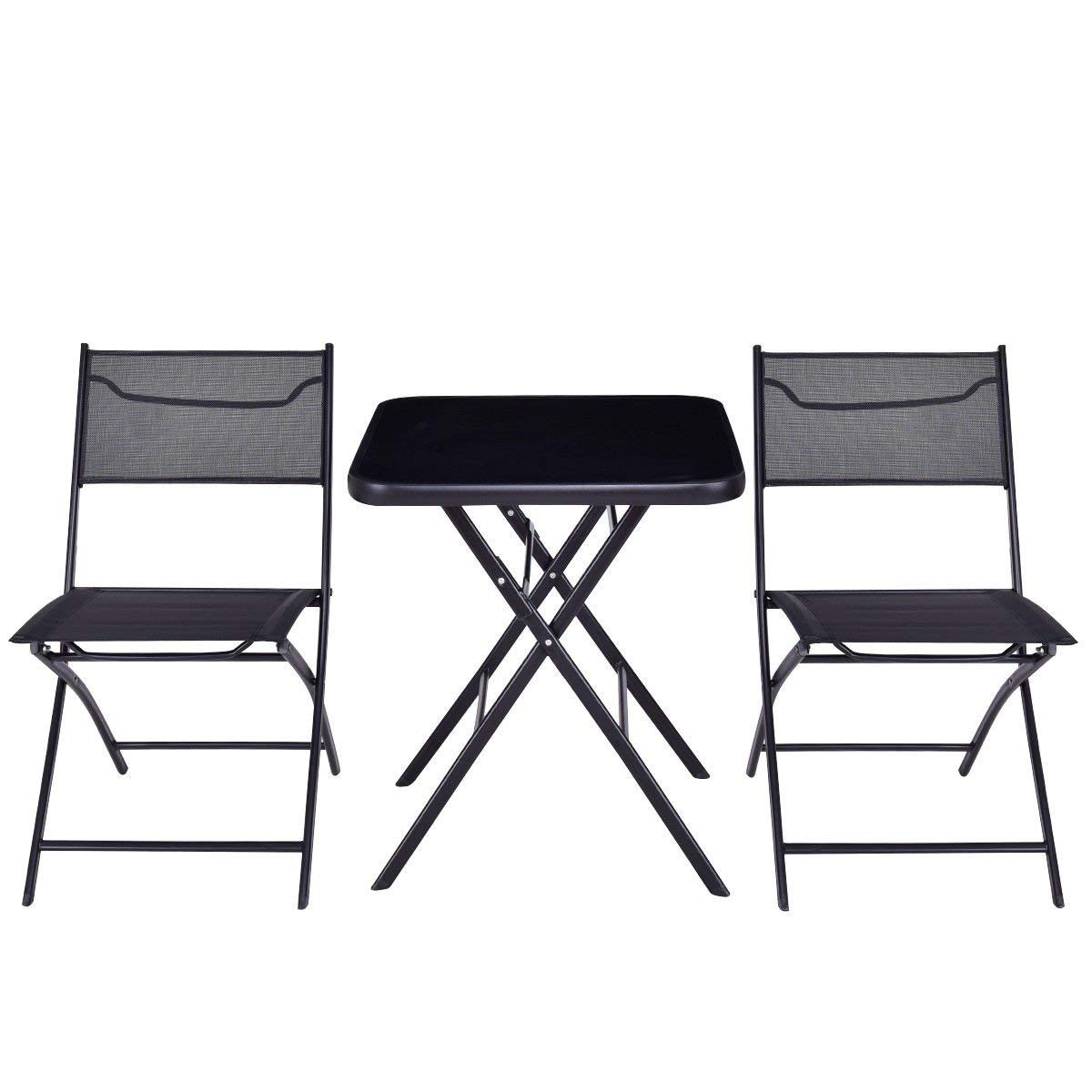 KCHEX>Outdoor Patio 3PC Folding Square Table and Chair Suit Set Garden Bistro Backyard>This Our 3PCS Folding Table and Chairs Suit.