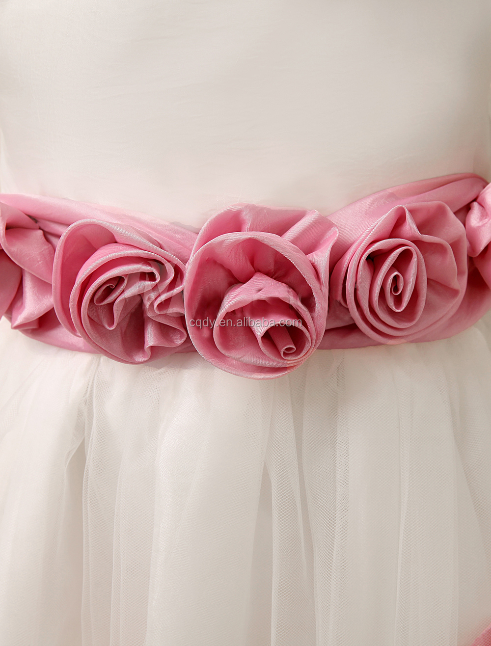 Flor De Seda Rosa Blusa Falda De Tul Con Flores Sash Vestidos De ...