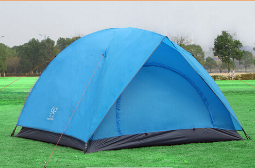 OEM Color Blue 4 Person 2 Layer Outdoor Polyester Foldable Camping Tent