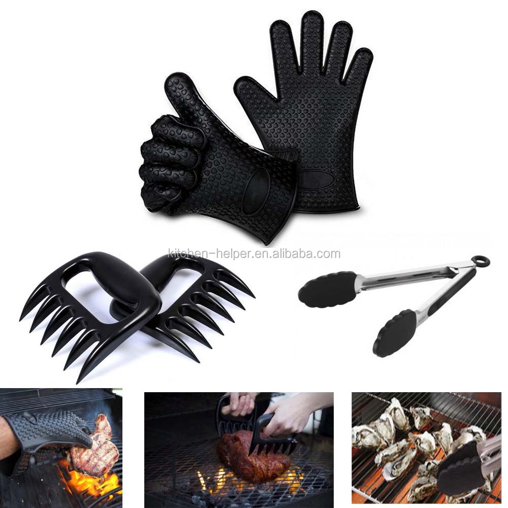 BBQ tool set come with 1 pairs silicone gloves 2pcs meat claws 1pc grilling tongs