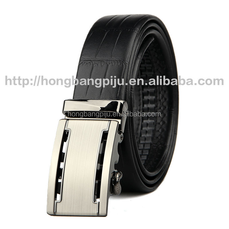 High Quality Black Genuine Leather Steel Buckle Men leather Belt