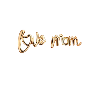 Letters Love Mom Yiwu Brand Jewelry Heart Stud Earring Rose Gold Elegant Women Fashion Costume Earrings