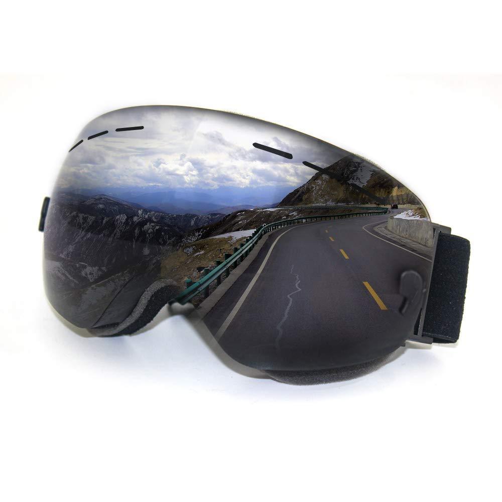 OTG Ski Goggles- Frameless Over Glasses Snowboard Snow Goggles Spherical Detachable Lens UV Protection Anti-Fog Men, Women, Youth