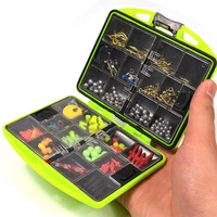 YOUME 100Pcs/box Fly Fishing Accessories Set with Fishhooks Float Lead Sinker Swivel Connector Beads Fishing Tackle Box