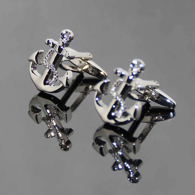 High Quality Exquisite Anchor Shaped Cufflinks Latest Unique Modern Design Silver Metal Cuff-link