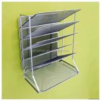 Fancy Desk Organizer Metal Mesh Silver Magazine Holder/File Storage/Letter Sorter