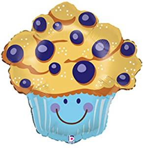 """Single Source Party Supplies - 27"""" Blueberry Muffin Shape Mylar Foil Balloon"""