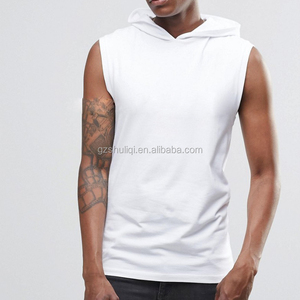 latest t shirt designs for men wholesale street wear muscle sleeveless T shirt with hood in white casual sport wear
