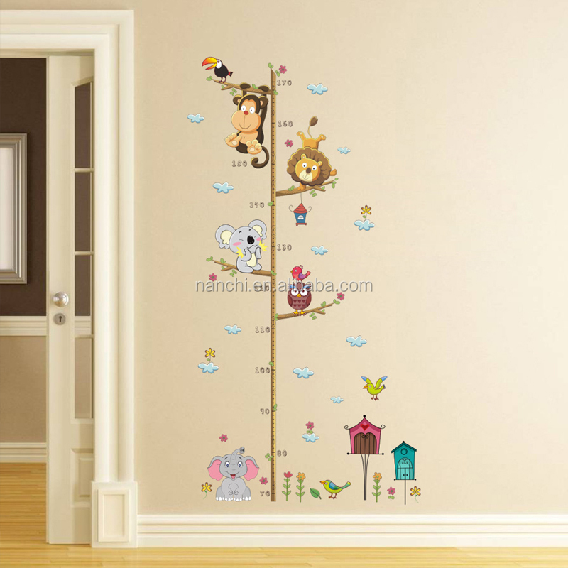 Animal elephant lion zoo Height Wall Stickers for kids children room living room bedroom home decorative waterproof wall sticker