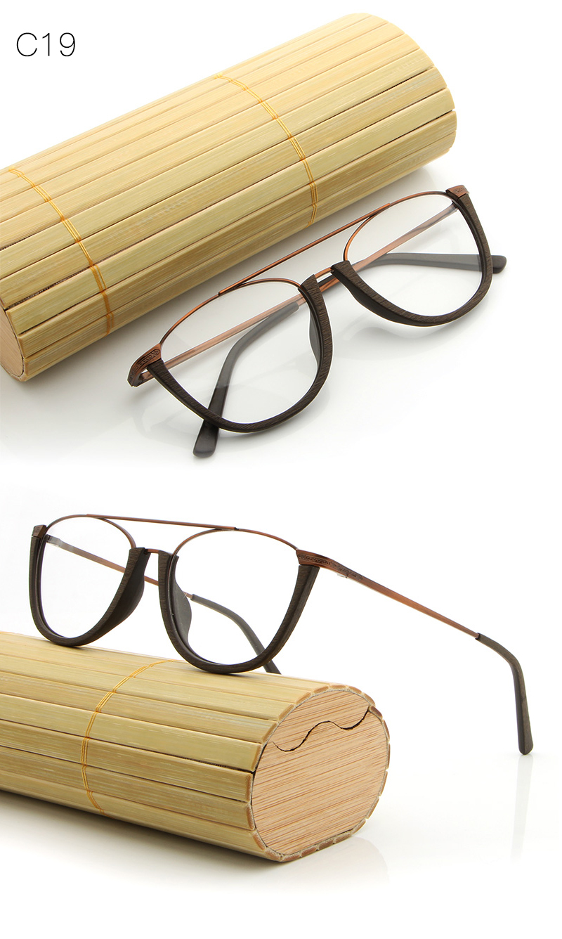 Hdcrafter Fashion Half Metal Frame Eyeglasses Wood Acetate Glasses ...