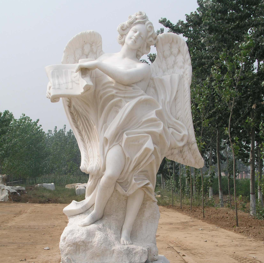 Handmade white marble large angel figurines wings statue
