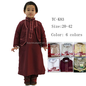 8ba3b0bcf4928 Children abaya 3pcs arab robe clothing muslim men islamic jubba muslim kid  dress