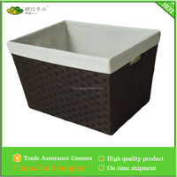 Paper rope woven storage basket with white canvas liner