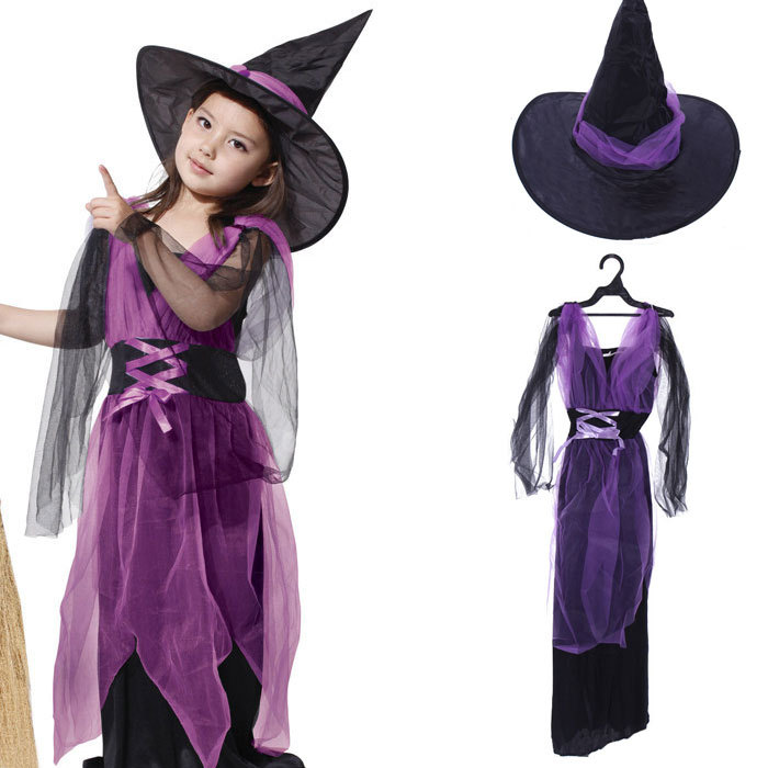 Buy Girls Witch Costume Witch Kids Party Fancy Dress Costumes ...