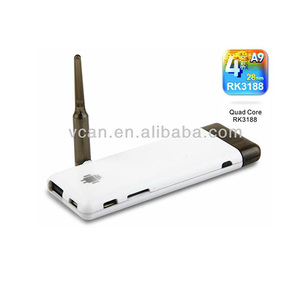 Quad Core rk3188 Android 4 1 1tv boxGPU Android TV Dongle with TF Card Slot  and External Antenna