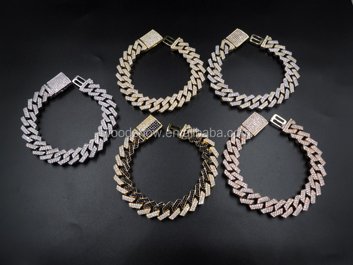14mm HipHop Glacé Miami Bracelet À Maillons ronds