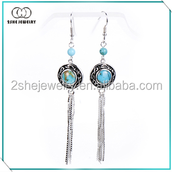 Wholesale Elegant 925 sterling silver earring with turquoise stone