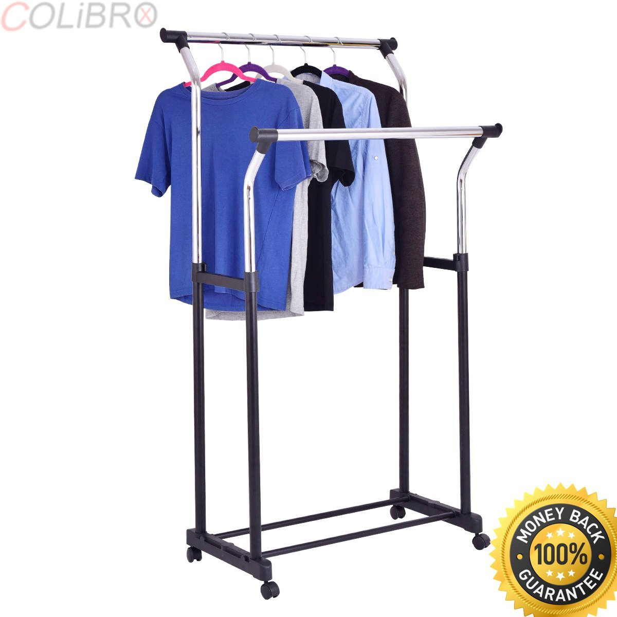 Get Quotations Colibrox Double Rod Adjule Clothes Hanger Garment Rack Organizer Rolling Chrome New