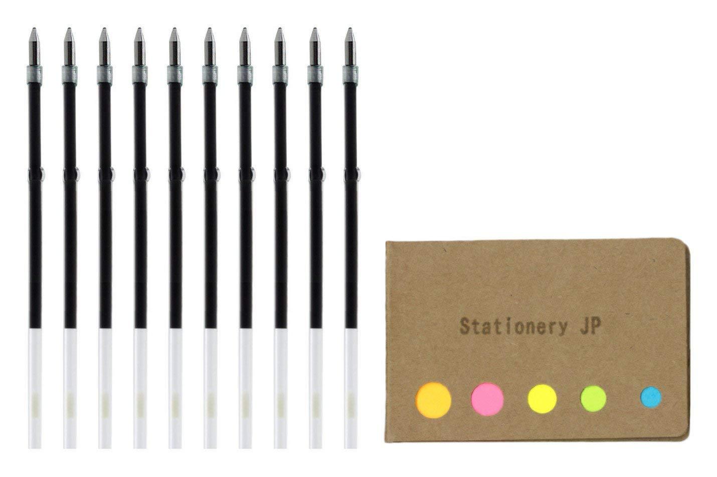 Zebra Ballpoint Pen Refills for Clip On Multi Pen, SK-0.7, Fine Point 0.7mm, Green Ink, 10-pack, Sticky Notes Value Set