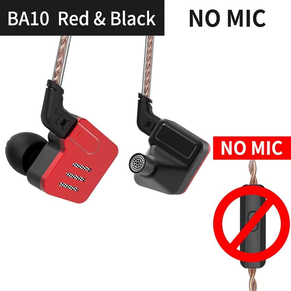 Shengruhua KZ BA10 in-Ear Earphones, Universal Earbuds Metal Headphones Balanced Wired Music Earphones in Ear Headset for Women Men