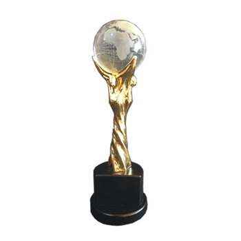 Wholesale zinc alloy metal award gold trophy with crystal ball
