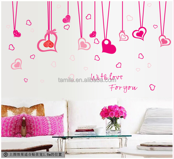Pink style Love heart shape wall sticker for lving room, bedroom