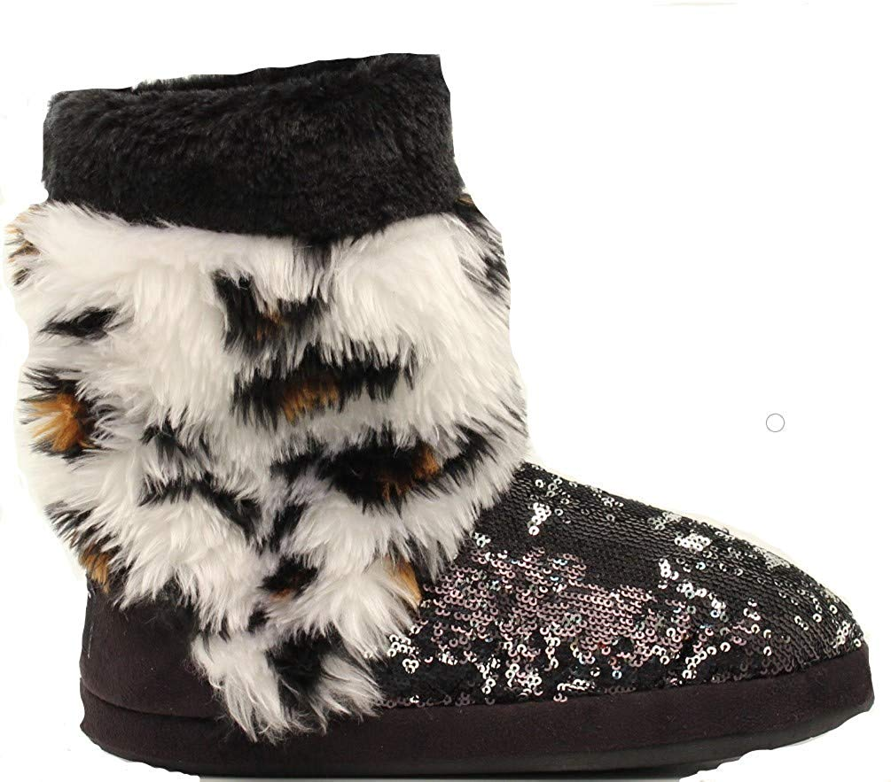f750628a6ae1 Get Quotations · Blazin Roxx Women's Sequin Leopard Boot Slippers, Faux Fur