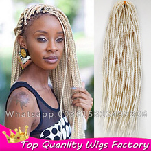 "18"" #613 Blonde Senegalese Twist Braiding Hair Extensions 80g/pack Synthetic Thin Senegalese Crochet Twist Crochet Braids Hair"