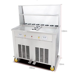 Big watt 2.8kw Thailand Commercial Fried Ice Cream Roll/ Ice Whipping Machine/ Ice Cream Cold Plate with 11 boxes