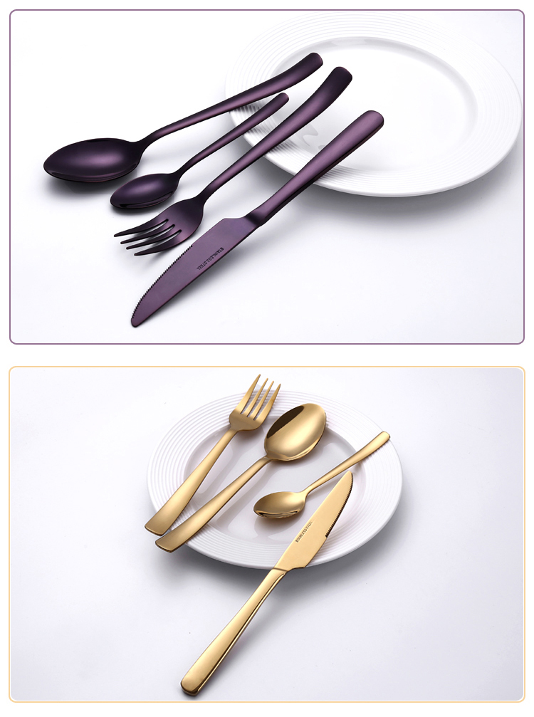 24pcs Party Vintage Outdoor Matte Gold Stainless Steel Edible Cutlery