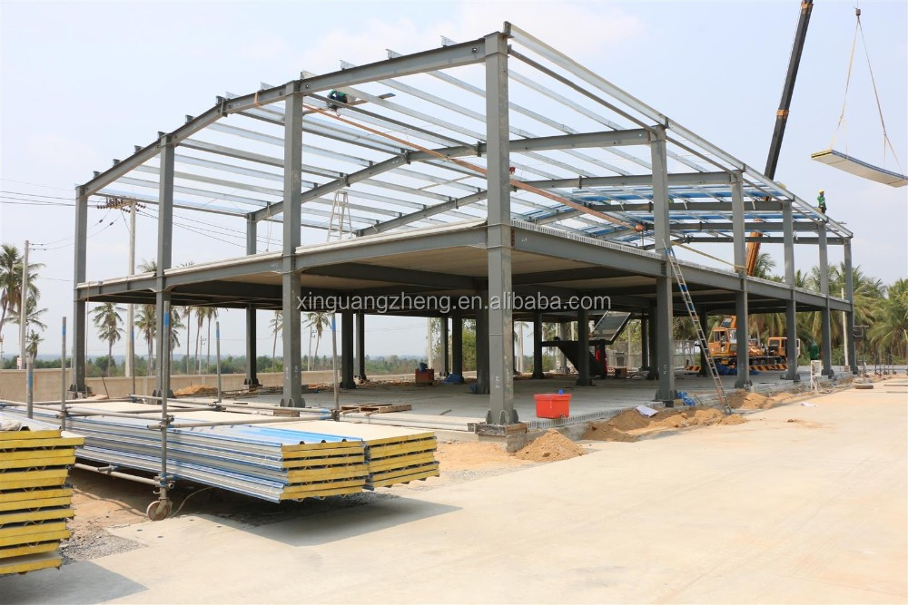 Mezzanine steel structure workshop units with office building