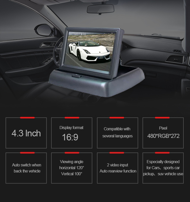 "2019 Hot selling Car Reverse Parking Camera With Radar Sensor&4.3"" Foldable LCD Rear View Monitor for family car"