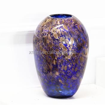 Modern Hand Blown Art Blue Gold Murano Glass Short Transparent Glass