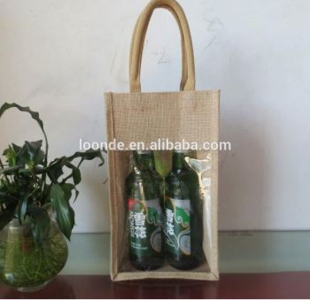 Natural jute burlap 2 bottle wine carry bag with front window