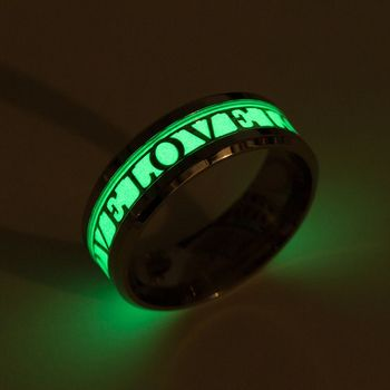 2019 New Arrival Luminous Ring Love Words Engraved Couple's Glow In The Dark Ring