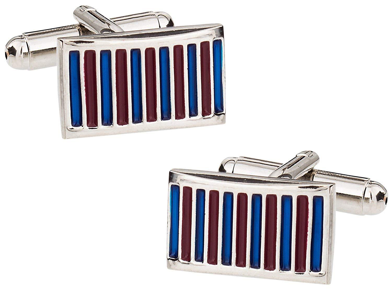 Cuff-Daddy Flared Blue & Maroon Enamel Silver Cufflinks with Presentation Box
