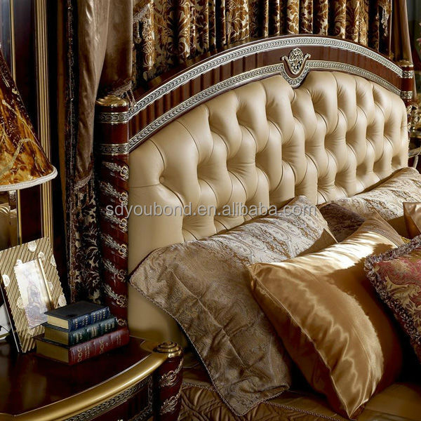 0016 Italy Classic Design Royal Golden Wood Design Bed Room ...