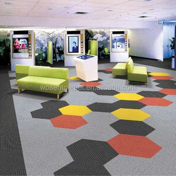 Modern Stripe Design Hexagon Carpet Tile For Floor Office