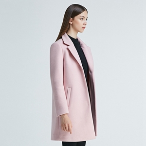 New Style Custom Made Pink Korean Cashmere Long Women Wool Coat