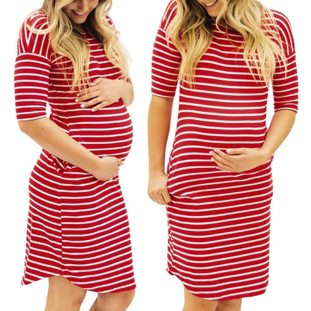 6f529da1b560b Get Quotations · Women Pregnant Dress,Summer Stripe Maternity Nursing  Sundrss Soft Skirt AxchongeryWomen Pregnant Dress,Summer