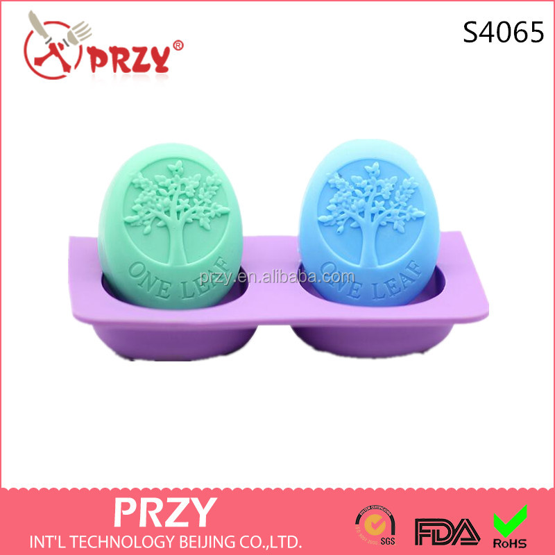 S4065 DIY handmade soap dual oval silicone mold happy tree cold soap making mold SOAP 90 g meaning peace