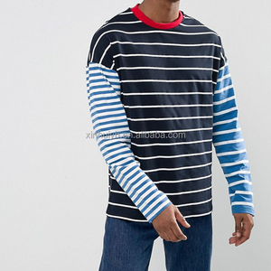 Fashion Plus Size Drop Shoulder Custom Long Sleeve Stripe Mens T Shirt With Contrast Collar And Sleeves