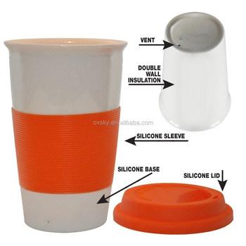 Handleless Tea And Coffee Mugs Ceramic Funny Travel Mug With Silicone Lid Sleeve