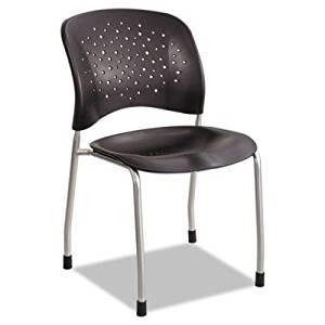 Safco Rjve Series Guest Chair W/ Straight Legs, Black Plastic, Silver Steel, 2/Carton 6805BL