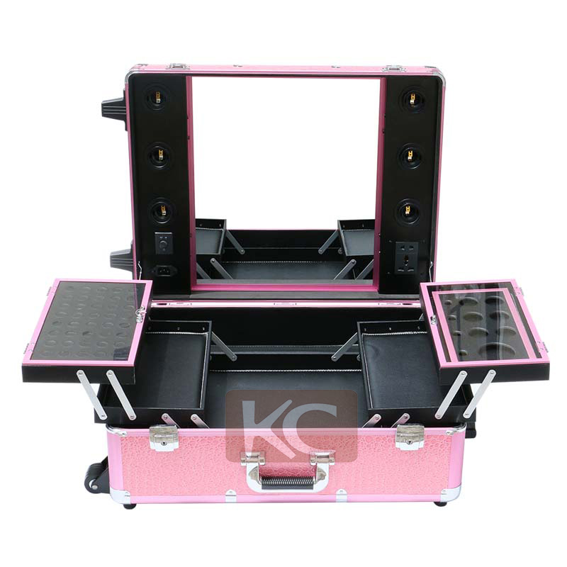 Professional Makeup Trolley Luggage Case Lighted